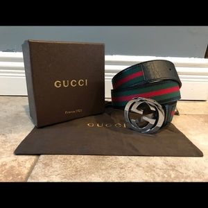 😏NWT Authentic Men Gucci Belt Black Green Red